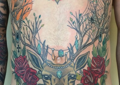 Deer and Roses Stomach tattoo