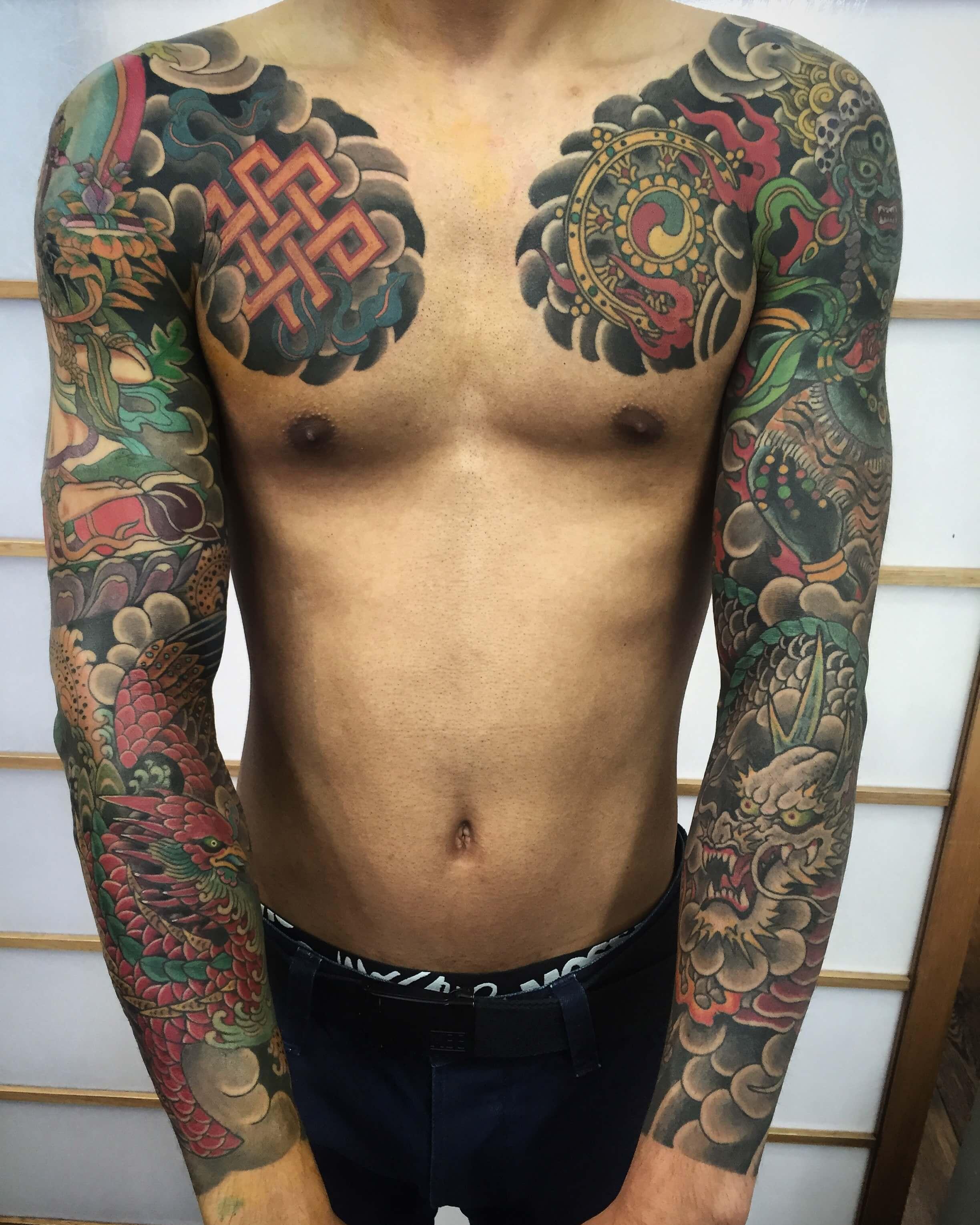 Full Japanese sleeves dragon and phoenix