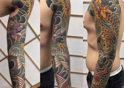 Japanese full sleeve Dragon and Koi fish