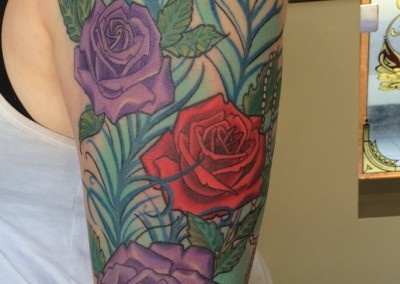 Roses and Peacock feather sleeve