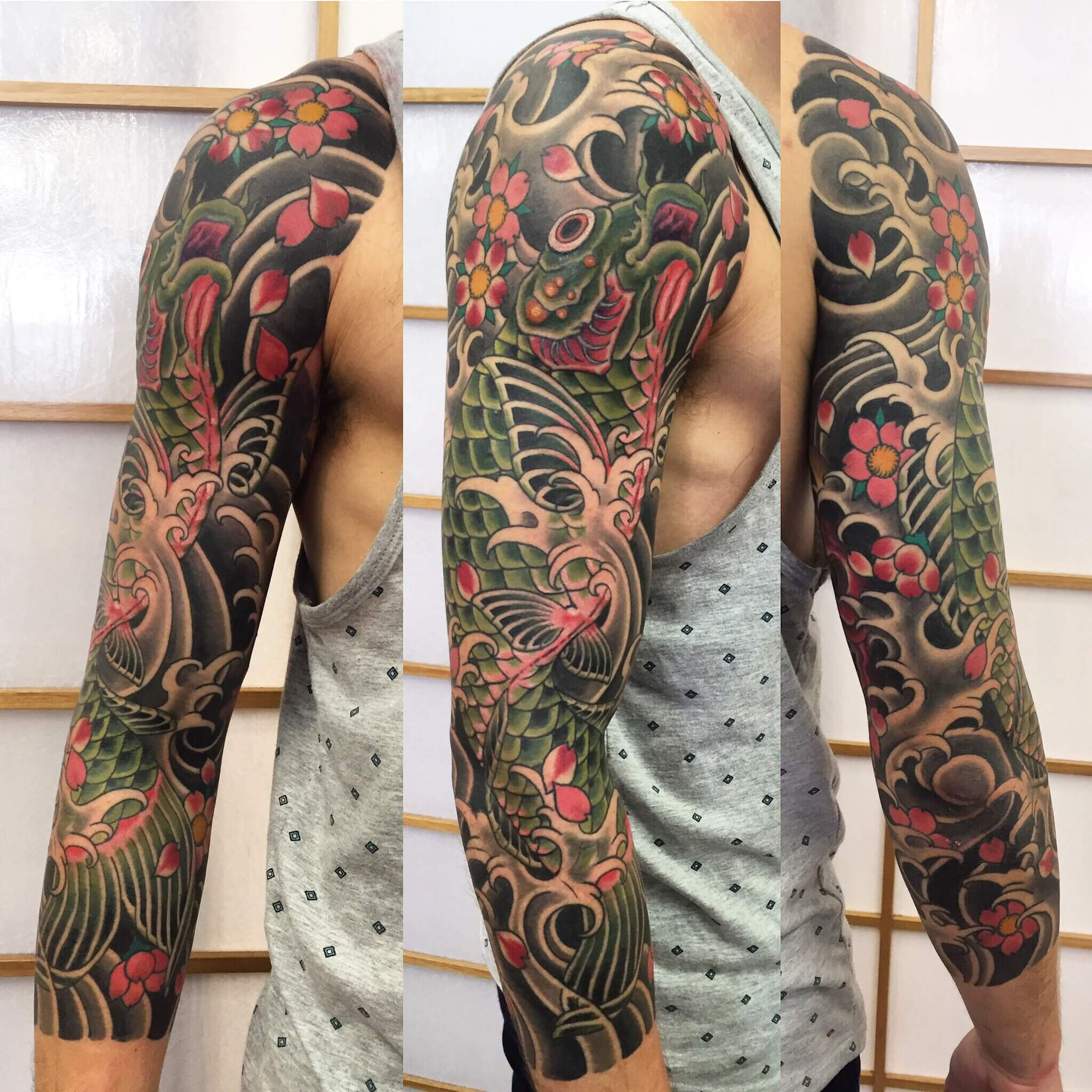 Full Japanese Sleeve Koi in water and cherry blossoms