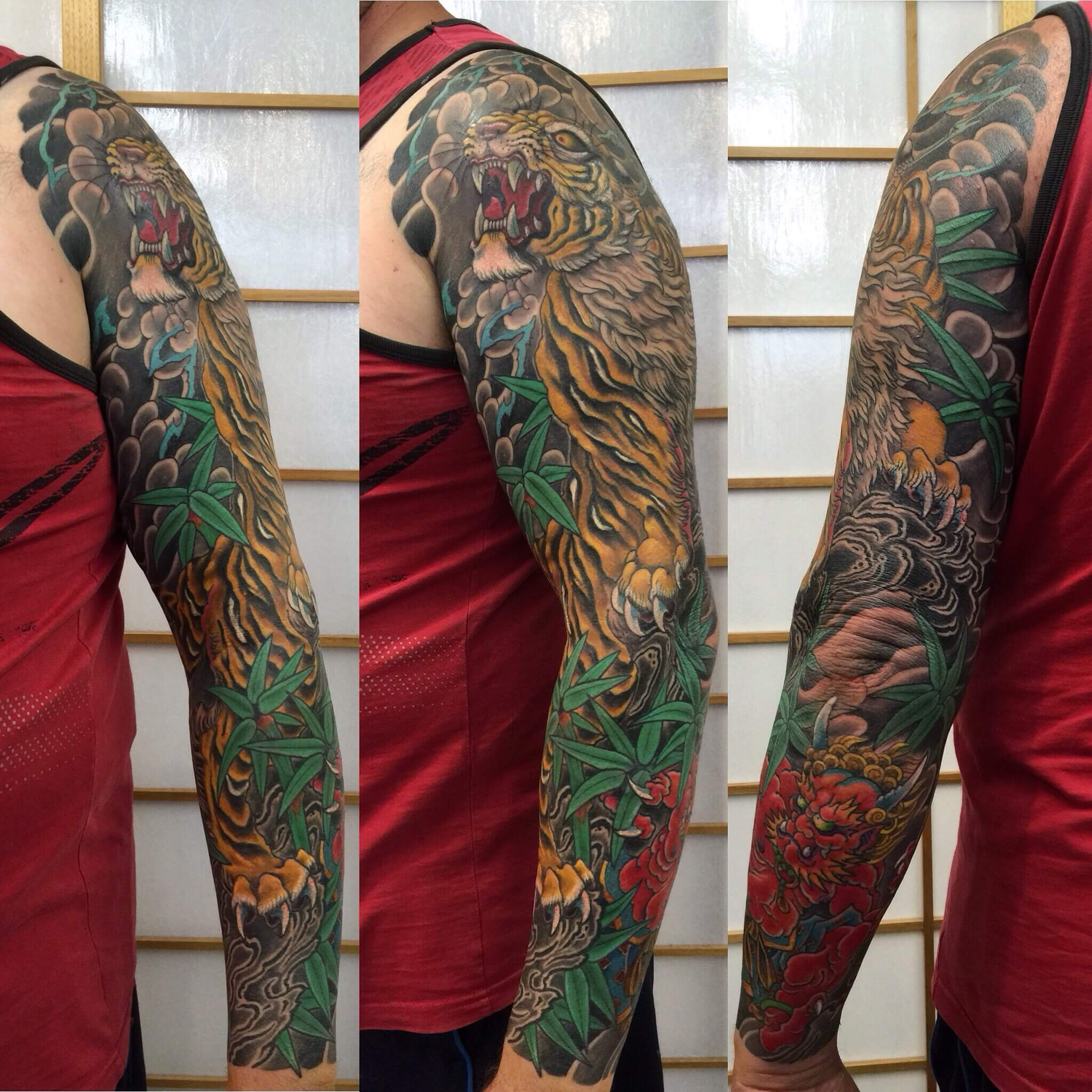 Full Coloured Japanese Tiger and Oni sleeve