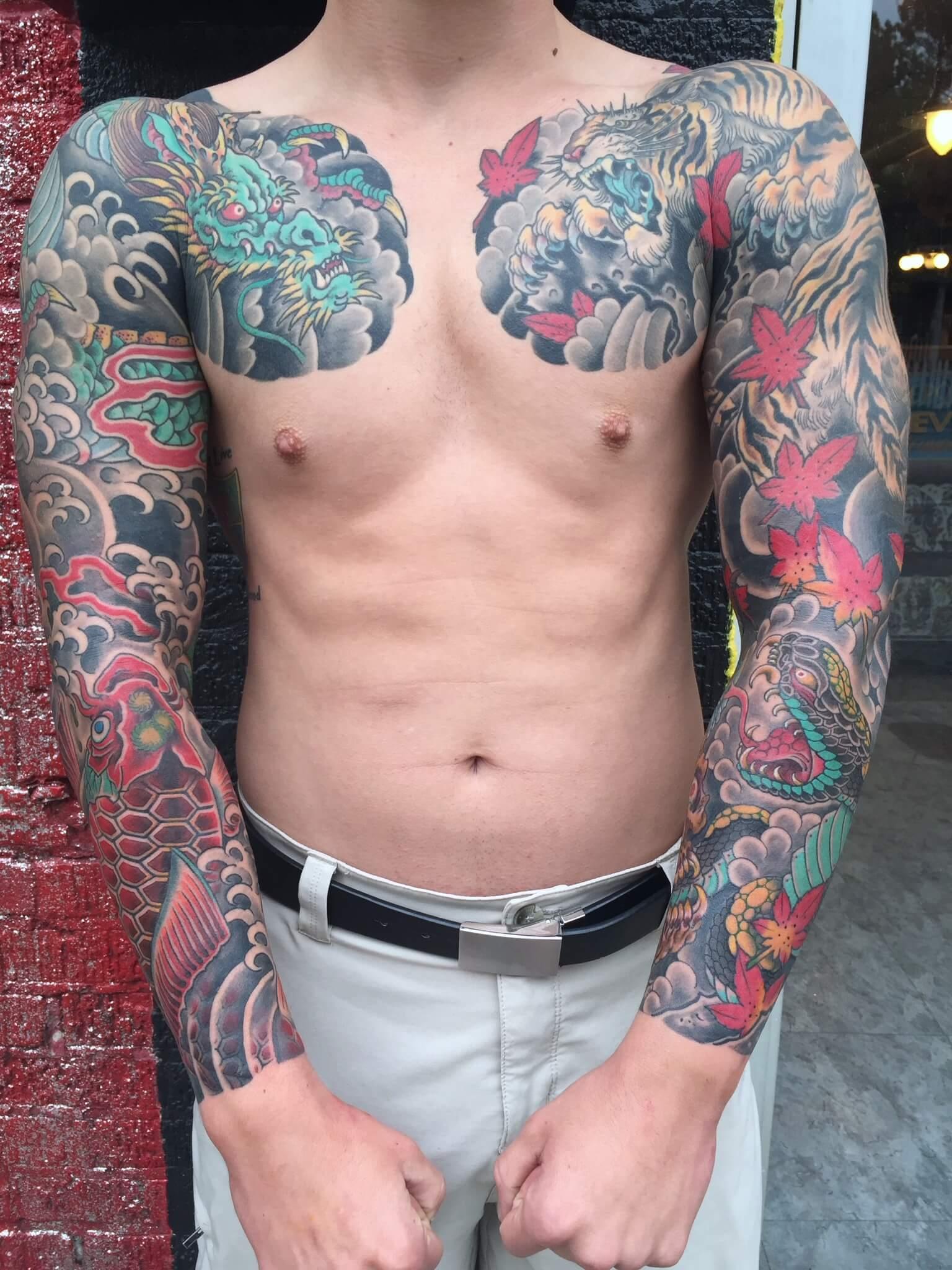 Full Japanese sleeves and chest tiger dragon koi snake