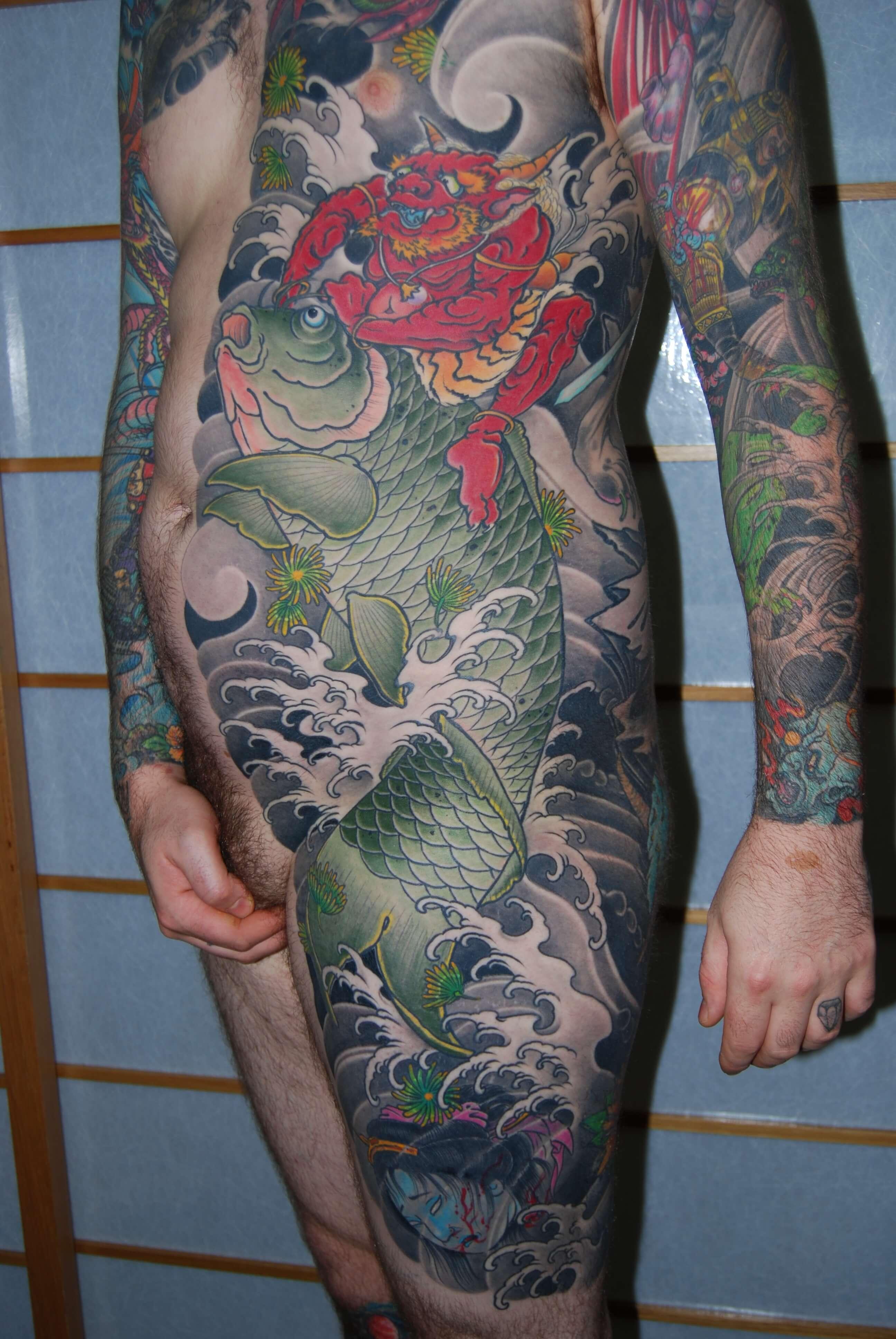Japanese Oni Koi full rib bodysuit