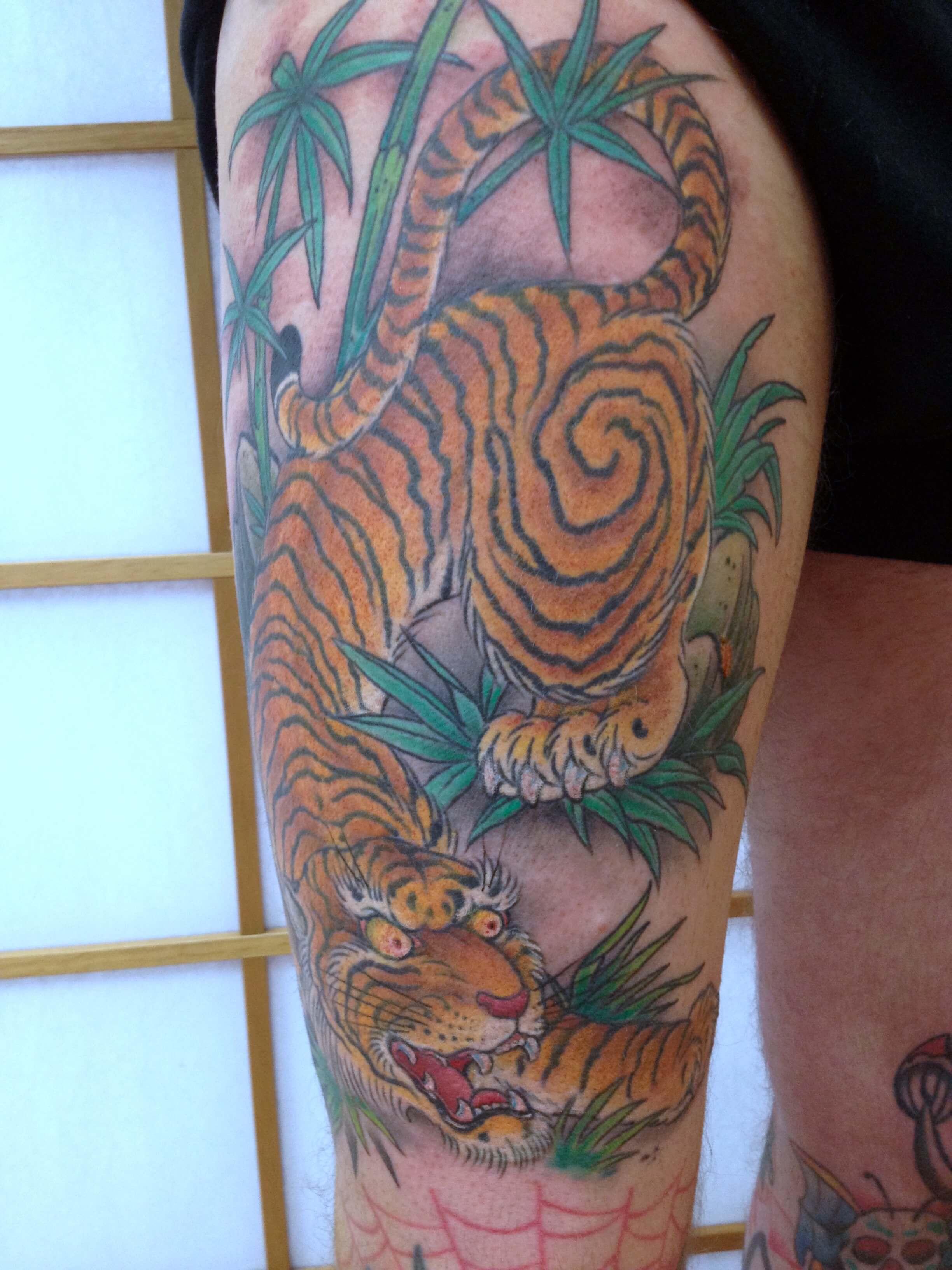 Japanese Tiger coloured leg Tattoo